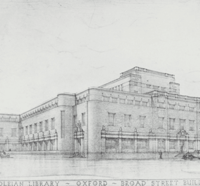 Architectural sketch of the New Bodleian Library