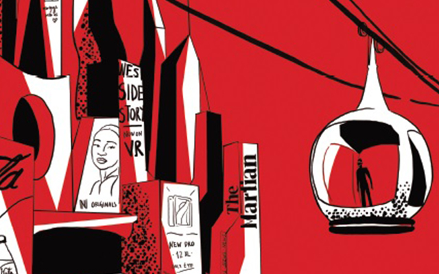 Red, black and white sketch featuring a figure in a futuristic cable car, book spines and a magazine cover