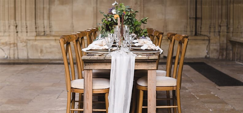 Table setting with flowers in the Divinity School