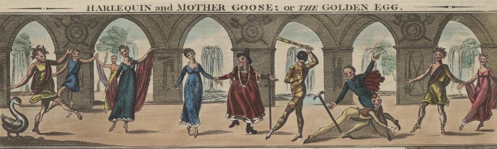 Colour art of pantomime figures dancing