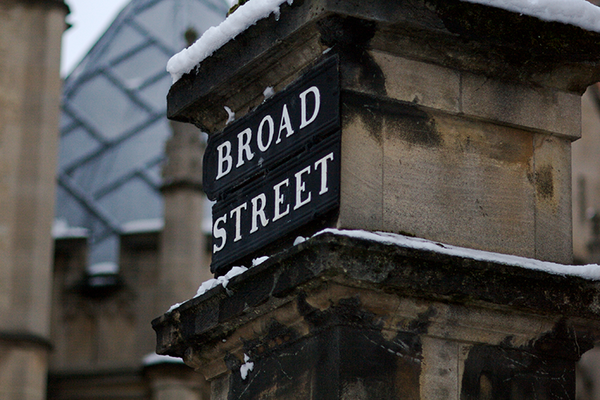 Broad street under the snow, Bodleian Libraries, University of Oxford