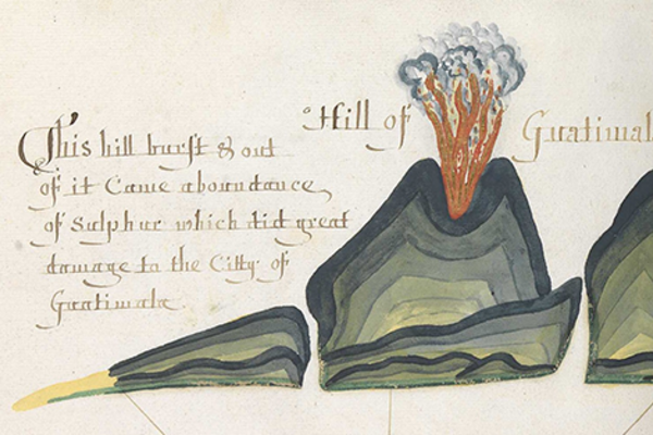 Illustration of an erupting volcano from a 17th-century manuscript with handwritten script around the illustration
