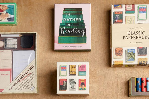 A selection of books and gifts for book lovers on a table