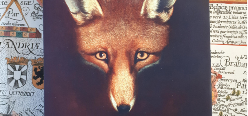 Image of the front cover of Reynard the Fox book, illustration of a fox's head with map illustrations laid behind the book