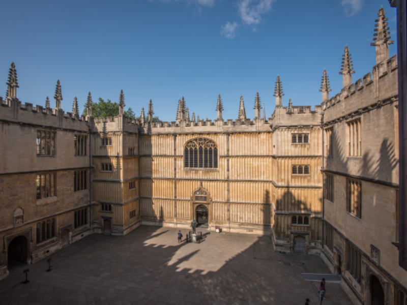 View looking down on the Old Bodleian Library and Old Schools Quadrangle